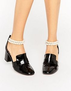 Princess Di Tribute Loafers WAH LONDON x ASOS Patent Leather Pearl Strap Heeled Loafers