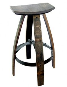 Weathered bar stool from reclaimed wine barrels.