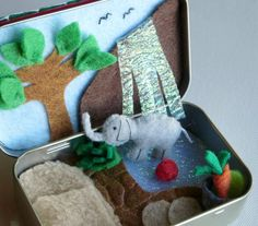 Elephant miniature felt plush Altoid tin play set by wishwithme