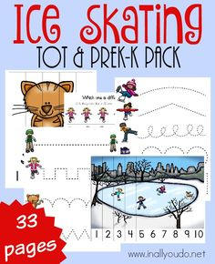 Now your little ones can get excited about Ice Skating with this SUPER FUN Tot & PreK-K Pack! Over 30 pages of puzzles, prewriting, beginning sounds and MORE! Preschool Printables, Preschool Themes, Kindergarten Activities, Educational Activities, Winter Activities, Preschool Winter, Preschool Classroom, Preschool Learning, Classroom Ideas