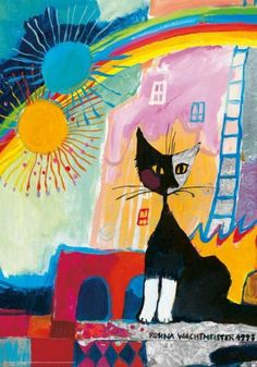 Puzzle HEYE: Puzzle de 500 piezas Gato arcoiris, soles, arte - Rosina Wachtmeister ( Ref Cat Cards, Rainbow Art, Cat Colors, Buy A Cat, Wassily Kandinsky, Illustrations, Cat Drawing, Watercolor Cards, Christmas Cats