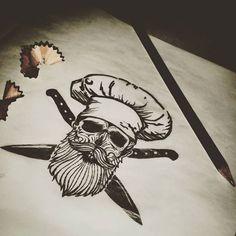 "Próximo tatuaje: ""MUERO POR COCINAR"" #tattoos #tattooarms #skulltattoo #skull #beard #beardsofinstagram #beardsandtattoos #beardskull #chef #cooking #cook #knife #ink #inked #freehand #sketch #sketching"