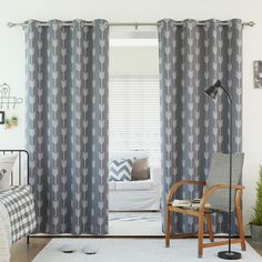 Lights Out Arrow Room Darkening Blackout Grommet 84-inch Curtain Panel Pair - Overstock Shopping - Great Deals on Lights Out Curtains