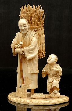 A Japanese ivory okimono of a Woodsman and His Son Meiji period… - Okimono - Oriental - Carter's Price Guide to Antiques and Collectables Oriental, Le Morse, Bone Carving, Japan Art, Katana, Maneki Neko, Sculpture Art, Art Decor, Artwork