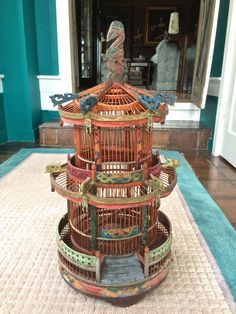Ornate Wood Carved and Hand Painted Chinoiserie Birdcage