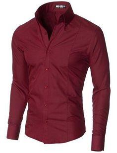 Men's Dress Shirts Slim Fit Long Sleeve High Button down Collar