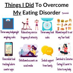 Things to do to Overcome an Eating Disorder 👉Throw away all scales! (pretty much the first thing to do) 👉Seek support from an expert. Don't go through this alone. 👉Unfollow accounts of social media that are making you feel good and are triggering 👉Be patient- I wish I could say the road to recovery is easy but it isn't. There are ups and downs. But you need to push through and remind yourself why you want to break out of this mindset and put an end to the disordered eating habits💛 Polycystic Ovarian Syndrome, Pcos Diet, Intuitive Eating, Ups And Downs, Nutrition Tips, Eating Habits, Intuition, Body Weight, Make You Feel