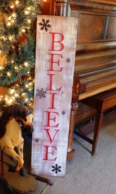 Large Vertical Distressed Red Believe sign with Metal Snowflakes, wood hand painted signs, christmas deocrations, christmas gifts - DIY and Crafts Pallet Christmas, Noel Christmas, Rustic Christmas, Christmas Projects, Winter Christmas, Holiday Crafts, Holiday Fun, Christmas Signs On Wood, Pallet Ideas For Christmas