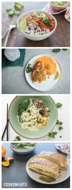 Weekly Meal Plan Menu | Week of 2/20/17 via @cooksmarts - Mojo Pork Bowls, Chicken with Pan Sauce & Mashed Sweet Potatoes, Tofu Green Curry Noodle Soup, Cubanos with Mojo Pork. #mealplan #mealplanning #homecooking