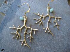 Gold Coral Earrings Surfer Girl Earrings Beachy by debbyhawaii, $24.00