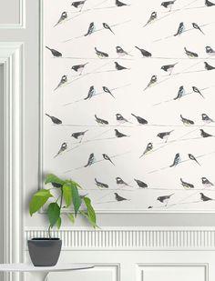 Garden Birds wallpaper from Louise Body in Stone Stone Wallpaper, Bird Wallpaper, Rustic Elegance, Designer Wallpaper, Interior Decorating, Interior Design, Garden Birds, Branding Design, Artisan