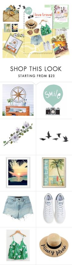 """""""Love Traveling"""" by ltt-thuthuyly ❤ liked on Polyvore featuring Improvements, Polaroid, Seventy Tree, Jayson Home, T By Alexander Wang, adidas and Marni"""