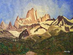 GALERIA PALOMO MARIA: FITZ ROY Environment Painting, Patagonia, Landscape Paintings, Argentina, Drawings, Art