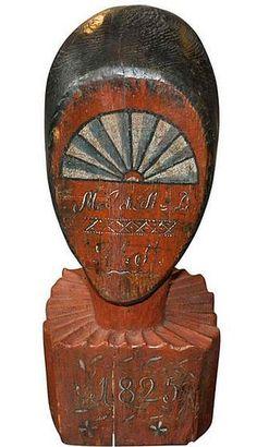 1825 Folk Art Wooden Wig Head Stand.