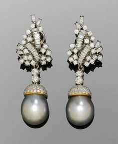 Tahiti pearl and diamond pendant earrings.