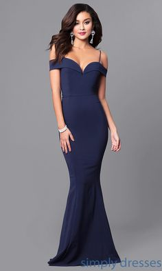 Shop off-the-shoulder long prom dresses at Simply Dresses. Mermaid evening dresses under $200 in scuba fabric with fold-over sweetheart necklines.