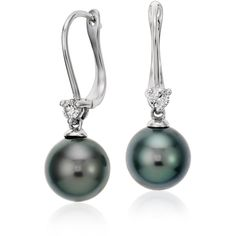 Blue Nile Tahitian Cultured Pearl and Diamond Drop Earrings (76.595 RUB) ❤ liked on Polyvore featuring jewelry, earrings, freshwater pearl drop earrings, diamond jewelry, hinged earrings, 18 karat gold earrings and freshwater pearl earrings