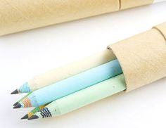 Eco-friendly recycled paper pencils from Moxie Pear.  Stationery, office, stationary