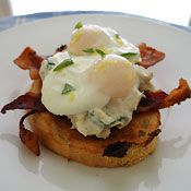 OMG:   Who can resist artichokes and bacon in the same dish?  Poached Eggs and Bacon with Creamy Artichoke-Lemon Sauce, Recipe from Cooking.com