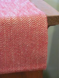 "Table Runner, Handwoven Cranberry Red & Khaki Tan Herringbone Twill Cotton 32""L x 12.25""W. $75.00, via Etsy."