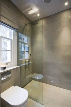 Kensington shower room - I want a bathroom like this Grey Bathroom Tiles, Loft Bathroom, Ensuite Bathrooms, Grey Bathrooms, Bathroom Renovations, Small Bathroom, Wall Tiles, Bathroom Ideas, Interior Design London