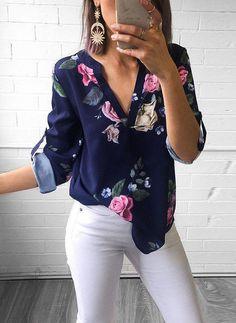 b02d6a729 Wydrukować Litera V Rękaw 3/4 Nieformalny Koszula Bluzki Ubrania Crop Top,  Modne Ubrania