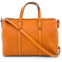Gucci Orange Nice Microguccissima Boston Bag ($1,010) ❤ liked on Polyvore featuring bags, handbags, gucci handbags, gucci, gucci purses, orange purse and orange handbags