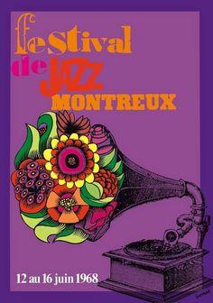 art-et-musique: Affiche du Festival de Jazz de Montreux, 1968.