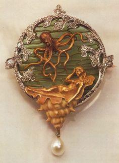 c. 1920's Art Nouveau Octopus &  Mermaid Pearl Brooch By Rene Lalique