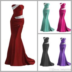 Discount Hot Sale New Fashion Sexy Beaded Custom Made Silver Colorful Elastic Satin Mermaid Bridesmaid Evening Prom Dresses LFC035 Online with $66.9/Piece | DHgate