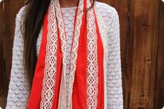 diy scarf easy sewing ideas red cloth lace scraps