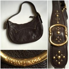 """Listing: MK Brown Leather  Purse w/ Gold Studs EXCELLENT condition! Only used two to three times. Only flaw is that brown spot seen in pic 3. Beautiful gold details, about 12"""" length, 7-8"""" tall, and 8.25"""" drop. Dark brown leather. Michael Kors Bags Shoulder Bags"""