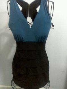Black n Teal mini dress