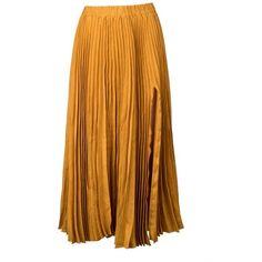 Kaelen Linen Pleated Skirt found on Polyvore featuring skirts, gold, midi, calf length skirts, brown skirt, elastic waist skirt, kaelen and mid calf skirts