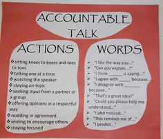 accountable talk - like the ideas would need to make it 1st grade friendly