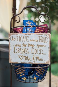 Custom cozie drink station. To Have and to hold and to keep your drink cold drink cozie station.