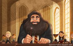 "lulusketches: ""Hagrid going back to Hogwarts after the war, and Harry taking him to Diagon Alley to return the favor :) """