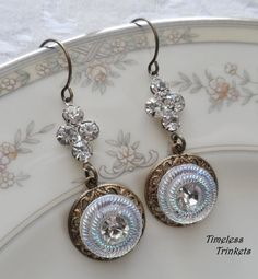Pleiades Vintage Glass Rhinestone Button by TimelessTrinkets