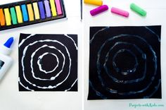 Create easy Kandinsky art for kids using chalk pastels and glue! Learn this simple pastel technique to make colorful circle art that kids will love! Chalk Pastel Art, Chalk Pastels, Chalk Art, Joan Miro Paintings, Kandinsky Art, Paper Art Projects, Scratch Art, Circle Art, Process Art