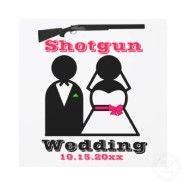 Hot Pink and Black Shotgun Wedding Invitations