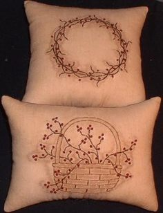 Primitive Stitchery Pin Cushion Pattern Berry Basket Wreath. $3.00, via Etsy.