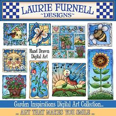 Laurie Furnell, Spring Digital Art, Garden Clip Art, Bird Clip Art, Flower Clip Art, Flower Digital Art, Spring Scrap Booking, Card Making