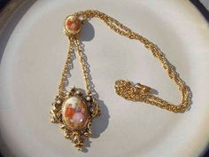 Vintage double cameo Necklace goldtone by PaganCellarJewelry, $18.95