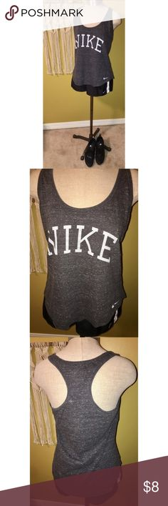 Nike razorback tank Grey razorback tank top with Nike logo in white. Size medium. Shorts also available! Make an offer or add to a bundle 🌟 Nike Tops Tank Tops