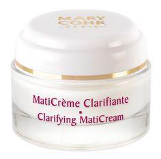MATICRÈME CLARIFANTE (50ml)  Die klärende Creme reguliert den Talgfluss, zieht die Poren zusammen und stellt so das natürliche Gleichgewicht fettiger Haut wieder her. Die Haut ist den ganzen Tag geschützt und der Teint sieht matt und strahlend schön aus. Schenkt der Haut ein samtig mattes, gepudertes Aussehen. Das Make-up hält wieder den ganzen Tag. http://www.best-kosmetik.de/marken/mary-cohr/unreine-haut/maticr-me-clarifiante.html