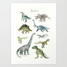 Buy Dinosaurs Art Print by Amy Hamilton. Worldwide shipping available at Society6.com. Just one of millions of high quality products available.