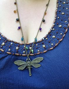 Beaded Dragonfly Necklace by DotNiks on Etsy, $25.00