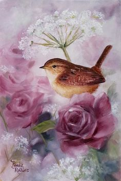 """Daily Paintworks - """"Lace n Roses"""" - Original Fine Art for Sale - © Paulie Rollins Art Floral, China Painting, Bird Pictures, Bird Prints, Bird Art, Beautiful Paintings, Beautiful Birds, Pet Birds, Painting & Drawing"""