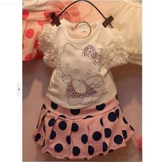 Pink and Navy Hello Kitty Set - Set includes the top and pink skirt with navy polka dots.