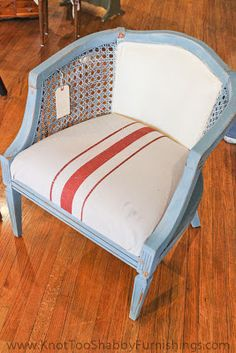 Awesome Barrel chair with Annie Sloan Chalk Paint...painted fabric in Old White and faux grain sack treatment with Primer Red on canvas drop cloth.
